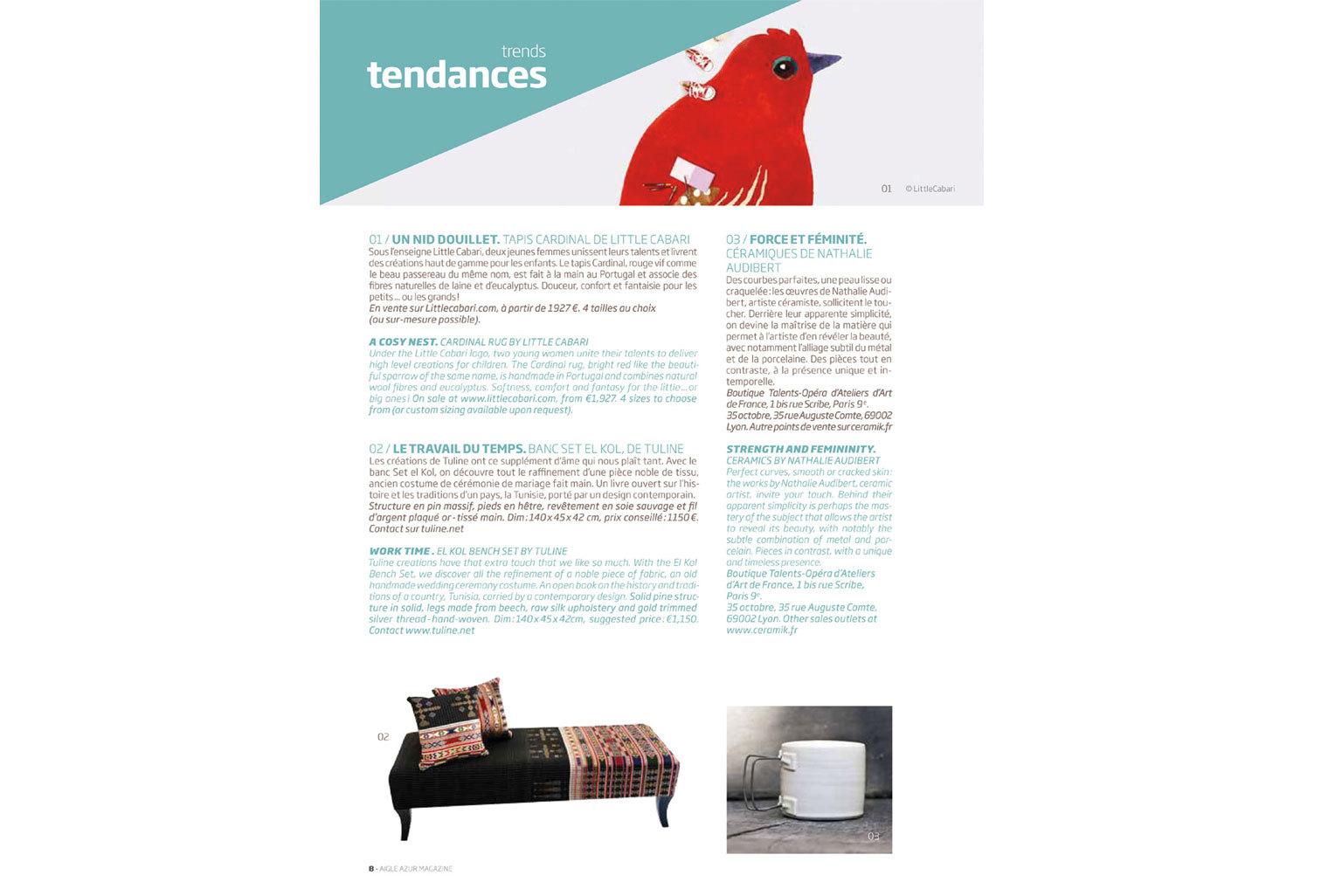 Aigle Azur Magazine a selectionné le tapis Cardinal