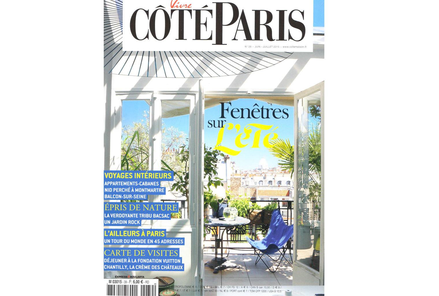 Le tapis Cardinal et la lampe Matriochka bois de tilleul et rouge apparaîssent dans un intérieur signé Marion Collard dans Côté Paris