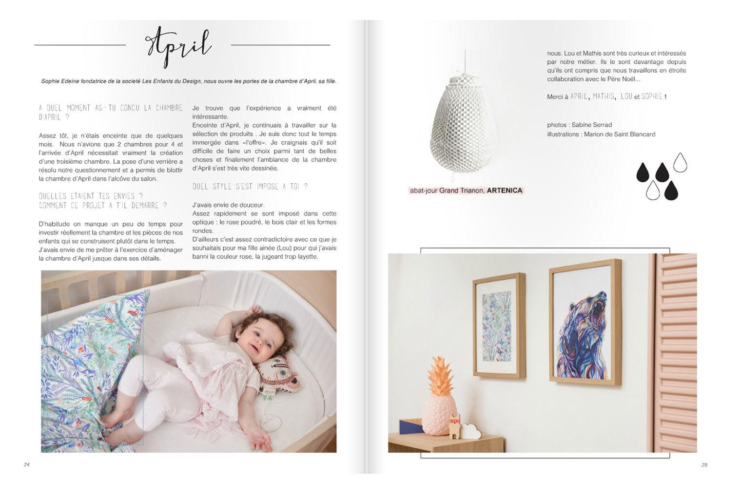 Sophie Edeine de Les Enfants du Design a choisi une parure de lit Little Cabari pour sa fille