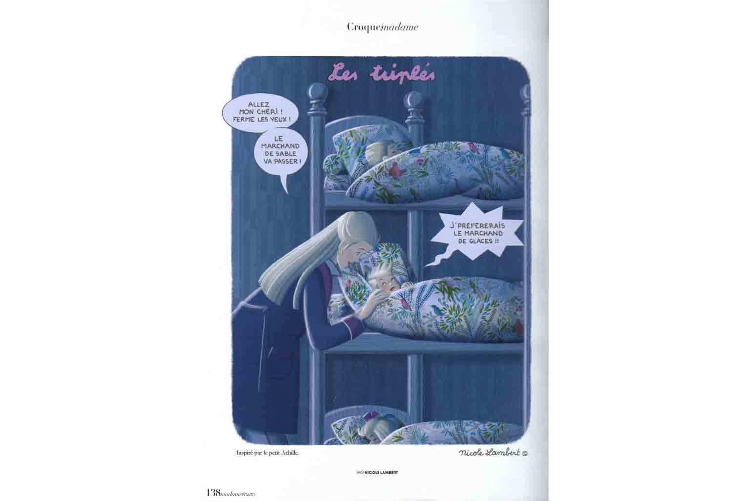 Digigraphie Les Triplés Linge de lit Jazz dans Madame Figaro