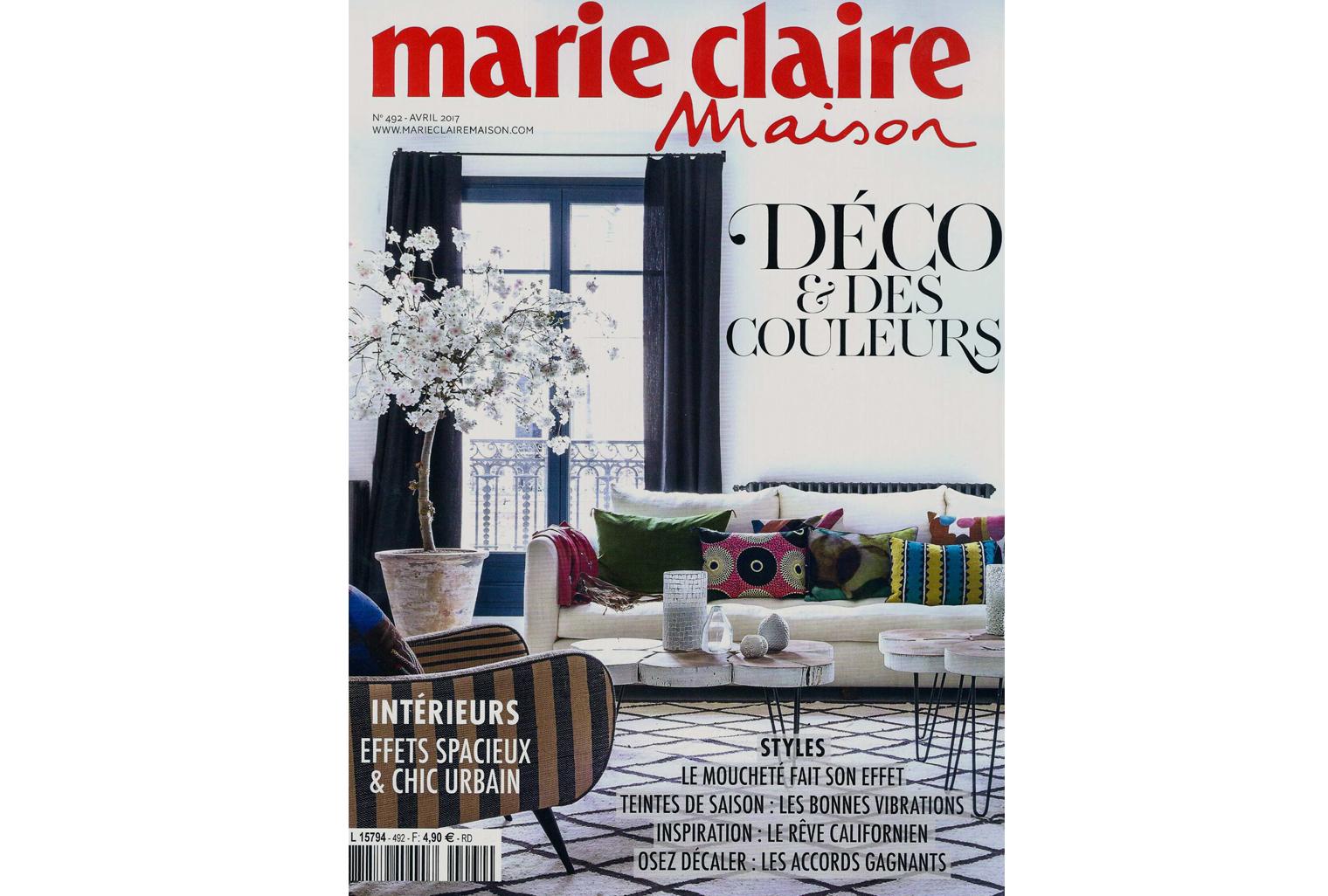 Papier-Peint TamTam et tapis Tilky Roux dans Marie-Claire Maison