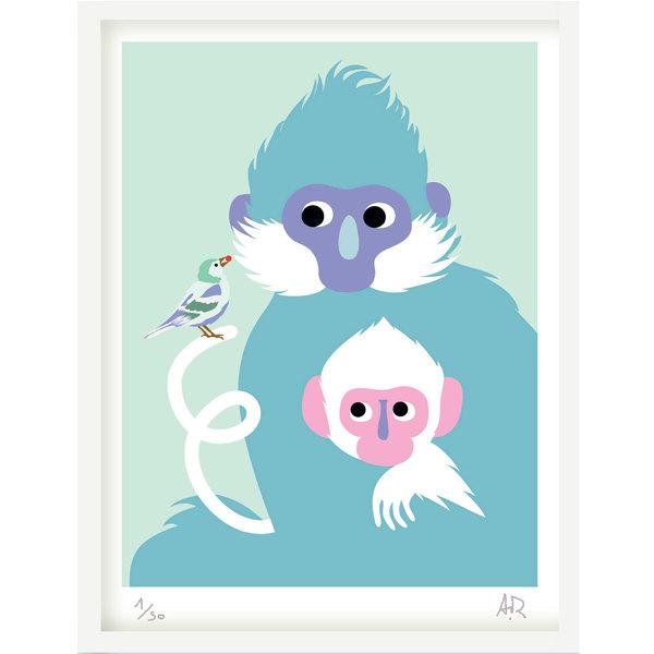 Art Print - Série Tendre bestiaire - Singes