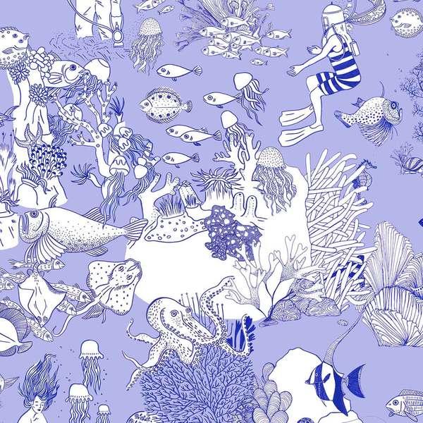 Tissu Toile de Mer bleu