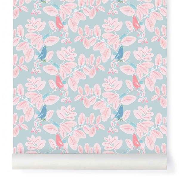 Papier-peint Songe rose et bleu