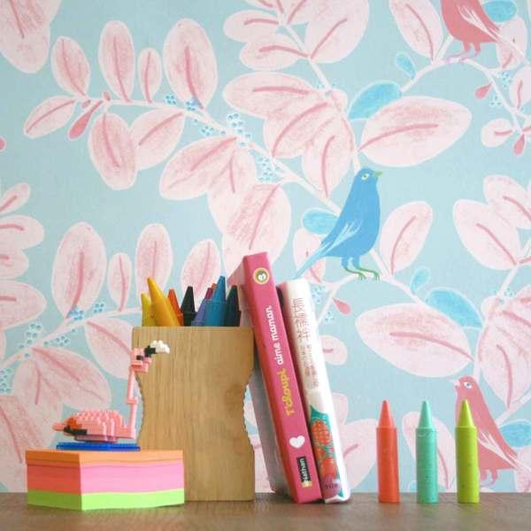 Détail Papier-peint Songe rose et bleu