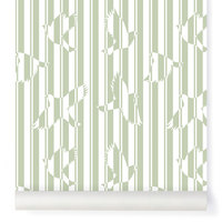 Papier-peint Polka vert amande