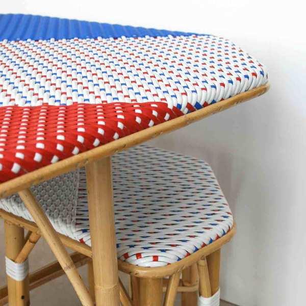 Table en rotin et rislan