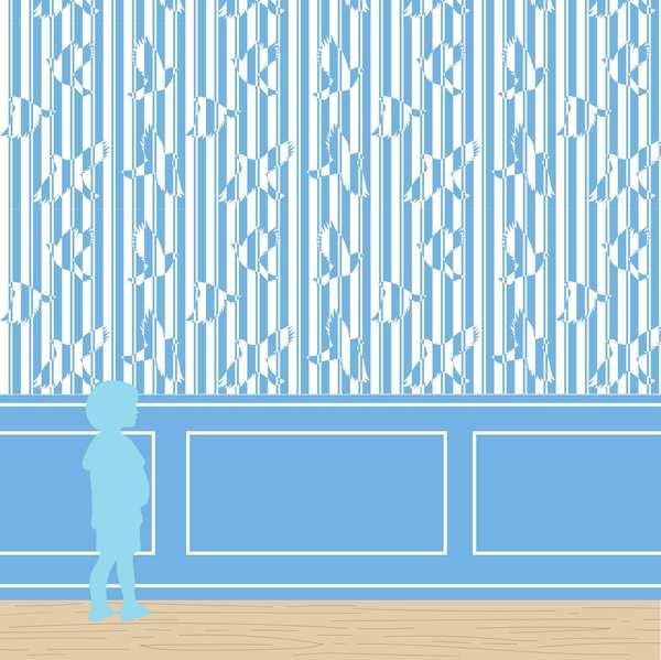 Papier-peint Polka océan chambre