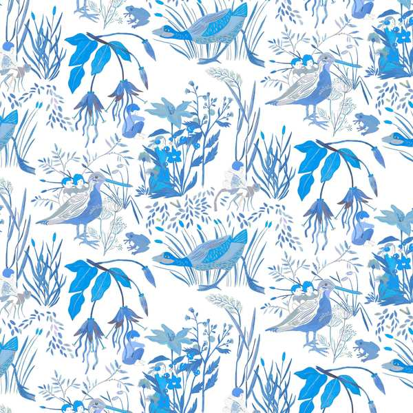 Détails Papier-peint-Lucioles bleu