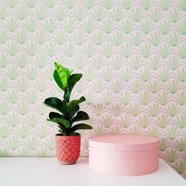 Détail Papier-peint Maracas Mint et Pink