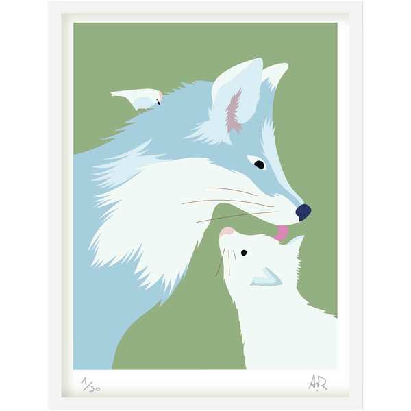 Art Print - Renards bleus